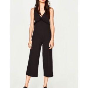 Zara Trafaluc Black Ribbed Jumpsuit Cropped Large